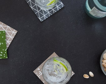 Grey Coasters - Gifts for Foodies + Mixologists - Modern Drink Coasters
