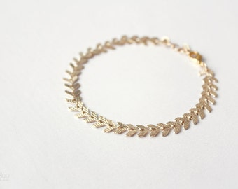 dainty fishbone chain bracelet - gold minimalist jewelry, gift for her under 20usd