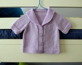 Cute hand knitted wool baby girl cardigan, sailor collar, short sleeves - mauve sweater fit to 6 months
