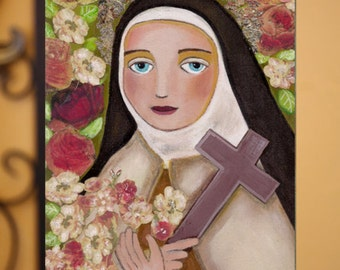 """Original painting on wood, """"Saint Therese of Lisieux, the Little Flower"""" by Evona, 6x9 inch (15 x 22.5 cm) Mixed Media Folk Art by Evona"""