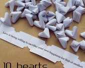10 paper origami heart love quotes - wedding - simple decor - free delivey