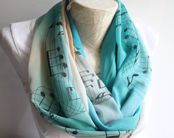 Music Festival Infinity Scarf Music Notes Hamilton Musical Music Teacher Gift Ideas Musician Gift for Her Spring Summer Fashion Accessories