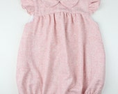 Baby Girl romper - Pink wool blend romper, peter pan collar and ruffle sleeves - Other colors available