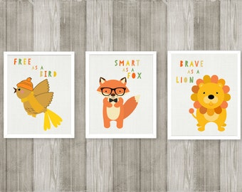 BABY NURSERY Prints, KIds Wall Art, Woodland, Fox, Yellow, Green, Forest Animals, Children Art, Toddler Prints, Similes, Brave, Smart