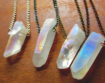 Angel Aura, Fairy Aura, Opal Aura, Rainbow Aura Titanium Quartz Raw Crystal Necklace Sterling Silver, Silver-Plated, Gunmetal, Brass, Copper