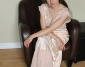 Peachy-pink 1930s '30s Nightgown. Bias Cut Lace Negligee. Satin and Chiffon Sleepwear. Paris Fashioned. Liquid Satin. S Small.