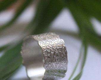 Sterling silver medieval ring - illumination - scallop ring - middle ages - arabesques - lace ring - wedding ring- engagement ring- SCRIPTOR