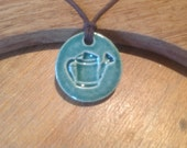 Small Teal Watering Can Pendant Ceramic Essential Oil Necklace  Diffuser Aromatherapy Jewellery  Handmade in UK