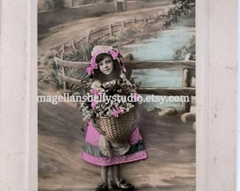 French RPPC Digital Download 1900's Beautiful Girl In Pink Dress Basket Of Flowers  Village Scene  Hand Tinted  Pink Blue Pastel