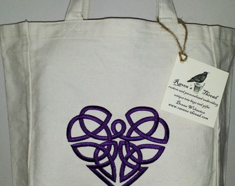 Celtic Knot Heart Tote Bag Embroidery Choose Your Own Bag