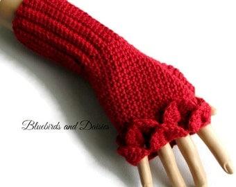 Red Alpaca Gloves - Red Crochet Gloves - Ladies Red Gloves - Red Woollen Gloves - Gifts For Her - Teen Gifts - Alpaca Gloves