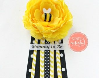 SALE Yellow Bumble Bee Baby Shower Corsage with Mommy to Bee Grandma to Bee and Custom Pins Badge Mommy Pin Baby Shower Pin
