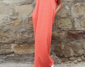 Coral with White stripes maxi dress, caftan dress, oversized dress, abaya dress, kaftan dress, summer dress