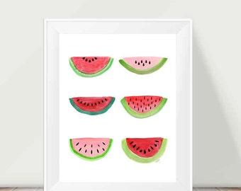Watermelon Print, Kitchen Print, Farmers Market, Red Kitchen Decor, Country Kitchen, Retro Kitchen Decor, 11x14, Summertime, Watermelon Art
