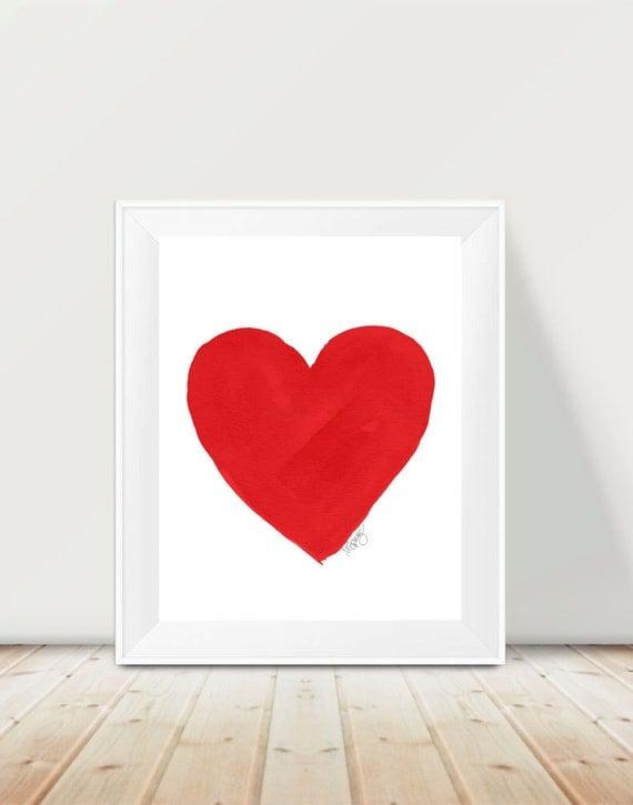 Deep Red Watercolor Heart Print, 11x14 Watercolor
