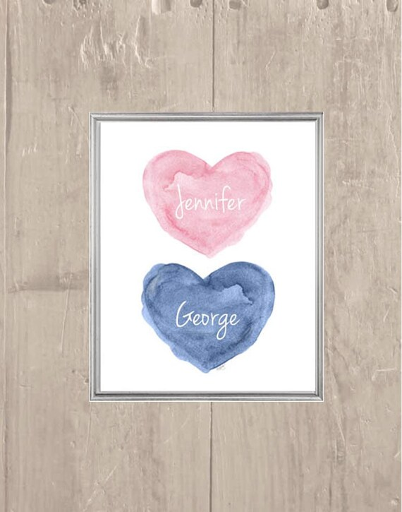 Pink and Navy Nursery Decor, 8x10 Personalized Print forTwins