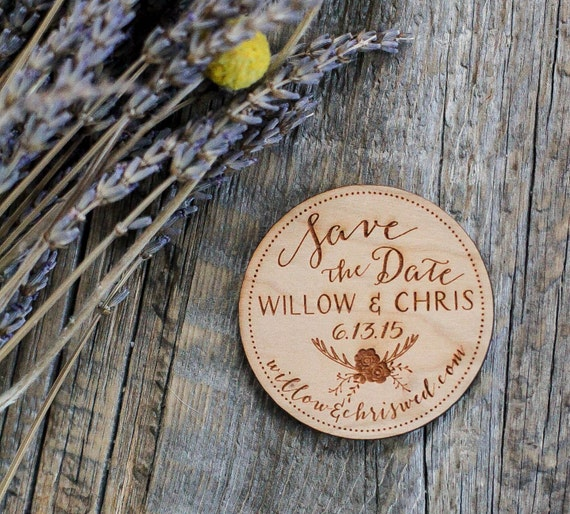 Custom Engraved Rustic Deer Antler Save the Date Wood Magnet Invitation Favor - As seen in Inspired Bride Magazine - April 2015