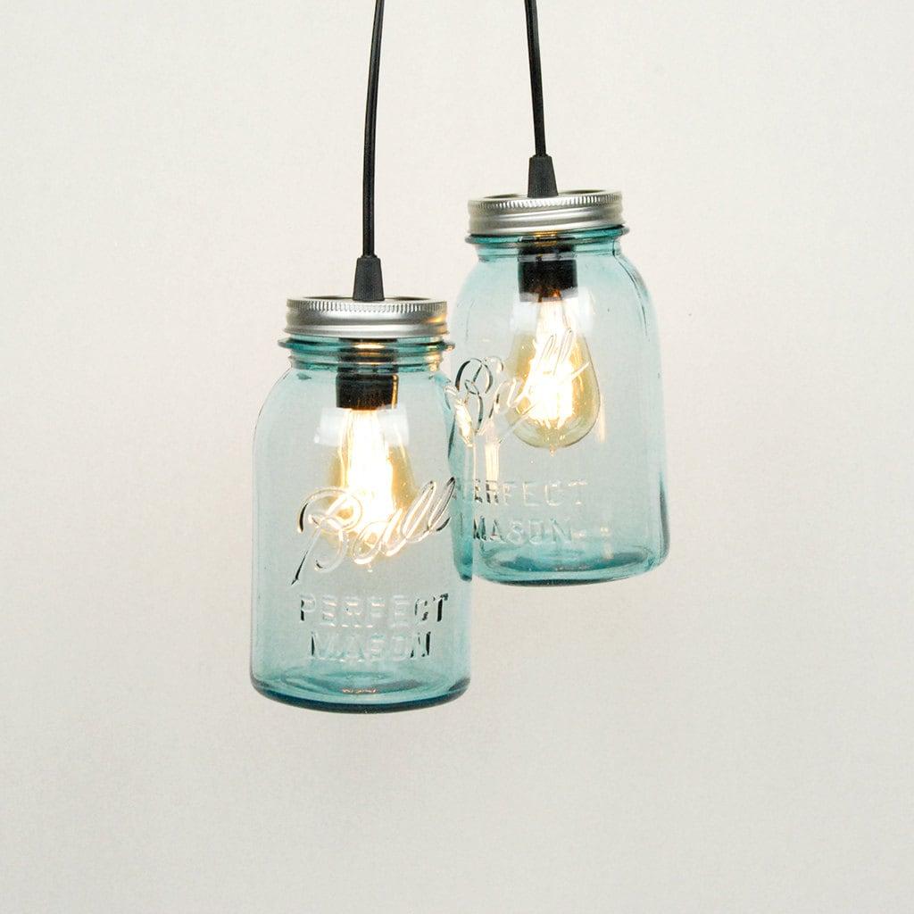 Mason Jar Chandelier: Mason Jar Chandelier 2 Vintage Quart Jars Aqua