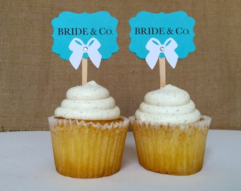 12 Bride and Co. Blue Bachelorette Party Cupcake toppers. Personalize these with a name.