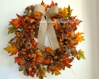 fall wreath fall wreaths autumn wreaths front door wreaths orange brown berry wreaths for front door wreaths Thanksgiving wreaths outdoor