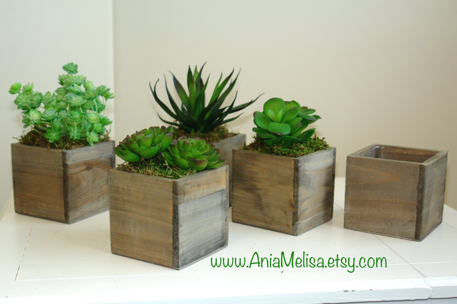 Wood Box Boxes Succulent Planter Flower Rustic Pot Square