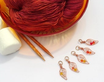 Campfire Flames Knitting Stitch Markers - Fireside Memories for Every Project!