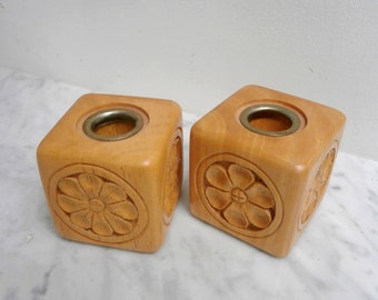 PAIR Vintage Wooden Candlestick Holders retro Scandinavian