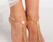 Gold Barefoot sandals Bridal foot jewelry Golden Rhinestone Beach wedding Barefoot Sandal Bridal barefoot sandal Beaded Star Barefoot Sandal