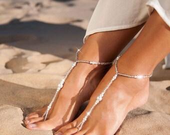 Beach wedding Barefoot sandals, Beaded Barefoot sandals, Pearl foot jewelry, Barefoot Sandles Bridal accessory Beach sandals Bridesmaid gift
