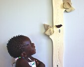 Tree Growth Chart - Children's height chart - Magnetic birds measure height - Children's room - Nursery Decor - Wood