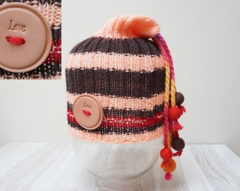 Slouch hat tam rasta beanie beret bobble cap oversized knit dread striped chunky handmade Felt wool balls red peach brown stretchable
