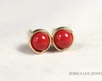 Gold Red Coral Stud Earrings Wire Wrapped Jewelry Handmade Gold Earrings Red Coral Earrings Gold Studs Gold Jewelry Red Coral Jewelry