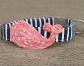 Whale Dog Collar - Navy Stripe with Peach Pin Dot Whale and Tan Hardware