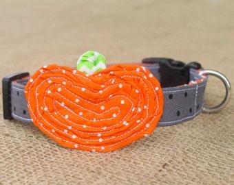 Halloween Dog Collar - Pumpkin - Grey/Black Dot Collar with Orange Pin Dot Pumpkin and Lime Green Chevron Stem