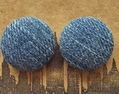Fabric Button Earrings / Recycled Denim / Wholesale Jewelry / Gifts for Her / Stud Earrings