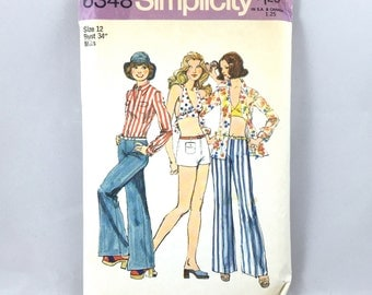70's Simplicity 6348 Pattern / Misses' Wide-Leg Hip-Hugger Pants or Shorts, Bra Top and Shirt // Size 12