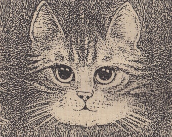 Black and White Drawn Artist Cats ~ Retired Cat Fabric FQ