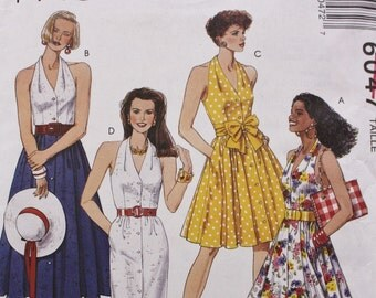 Halter Dress Sewing Pattern McCalls 6047 with Slim or Flowy Skirt Bust 34