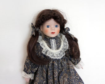Vintage German Doll 1970s, Porcelain Doll, Collectible Doll, Victorian Collection, Black Hair Blue Eyes, Lace Dress, Vintage Collectibles