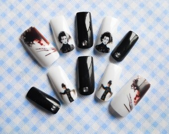 Edward Scissorhands Fake Nails, False Nails, Acrylic Nails, 3D Nail Art, Gothic Nails, Gothic Nail Art, Press on Nails, Custom, Short Nails