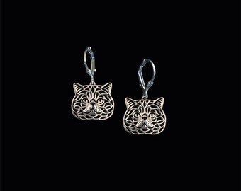 Exotic Shorthair cat earrings - sterling silver