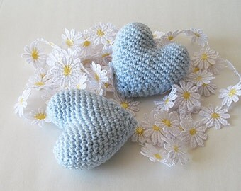 Amigurumi Crochet Light Blue Heart (Set of 2) - Cake topper - Wedding table decor - Birthday party decoration