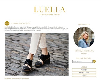 "Blogger Template Premade Blog Design - ""Luella"" Instant Download Chic Gold & White Blog Template Design Responsive"