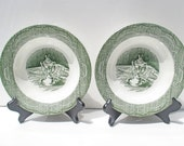 Royal China The Old Curiosity Shop Pattern - Set of 6 Rimmed Soup Bowls Green Transferware
