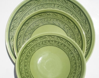 Taylor Smith Taylor - Shades of Grandeur Ironstone - RARE Oasis Green Pattern - Set of 2 Salad Plates, 1 Berry Bowl, 2 Bread Plates