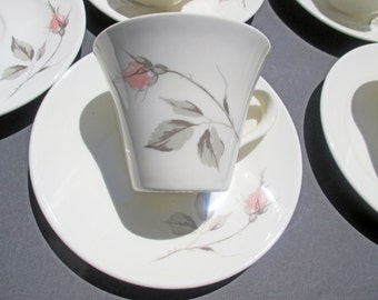Edwin Knowles Dawn Rose Pattern - Designed by Erwin Kalla - Set of 5 Cups and 5 saucers