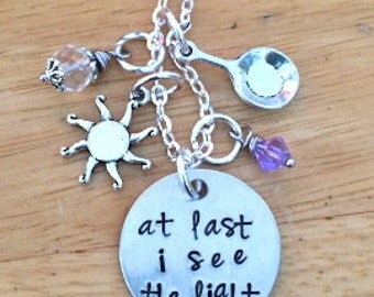 Tangled Inspired At Last I see The Light Princess Rapunzel Inspired Charm Necklace