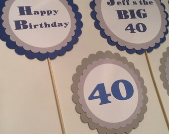 Happy Birthday over the hill cupcake toppers set of 12 can be made for any age 30 40 50 60 70 80 90