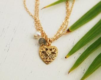 Heart bracelet, gold chain bracelet, filigree gold 14k bracelet, bridesmaid gift, bridal bracelet, everyday gold bracelet, wedding