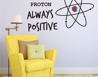 Vinyl Wall Decal Be Like Proton Always Positive - Wall Decals - Vinyl Wall Art - Home Decor - Office Wall Decal - Inspirational Positive